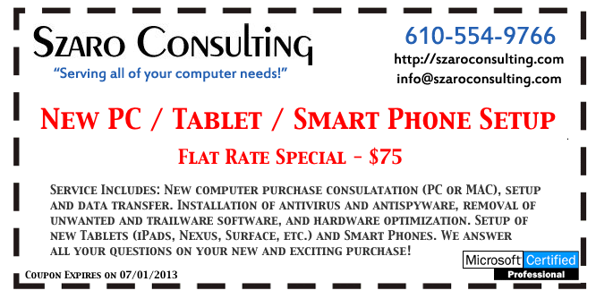 Szaro Consulting - April 2013 Coupon #2