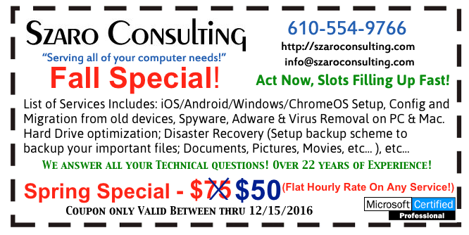 Szaro Consulting Fall Coupon