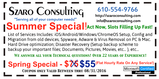 Szaro Consulting - Summer 2016 Coupon
